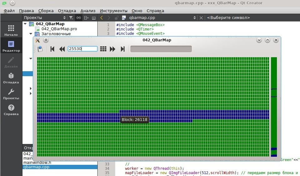 QBarMap в Linux на фоне среды разработки Qt.