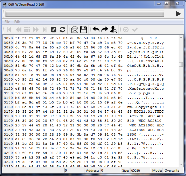 Программа чтения ПЗУ WD AC21000. Данные прочитаны.