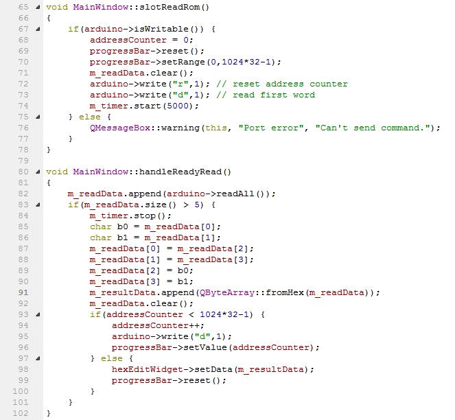 Отрывок программы на Qt для чтения ПЗУ WD AC21000 через Arduino