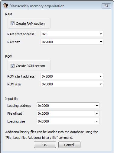 IDA, настройки загрузки файла.