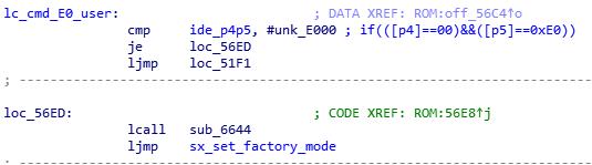 """Рис. 4. Отрывок """"lc_cmd_E0_user"""" дизассемблированного листинга прошивки WD21000"""