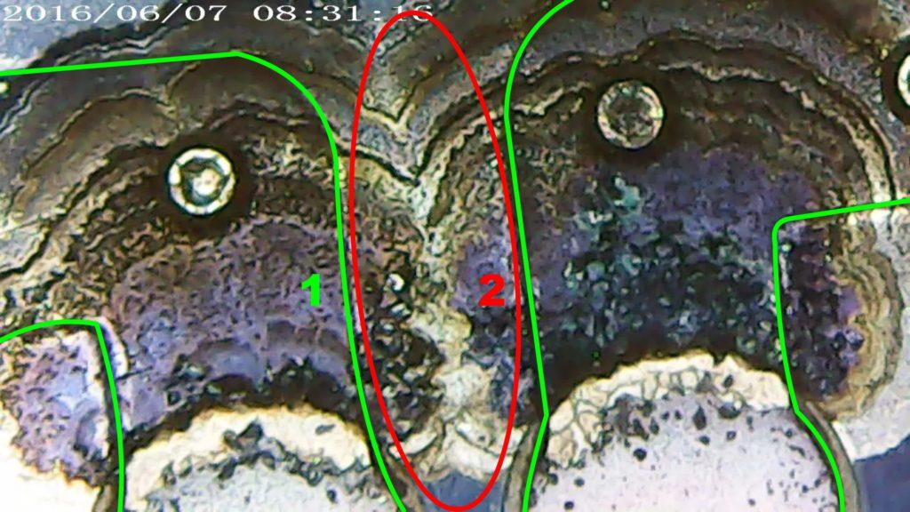 Рис. 3. Крупный план двух контактов разъема подключения усилителя/коммутатора с признаками «расползания» оксида серебра (черные чешуйки).
