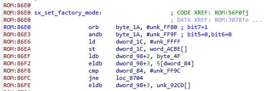 """Рис. 3. Отрывок """"sx_set_factory_mode"""" дизассемблированного листинга прошивки WD21000"""