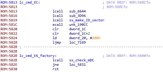 """Рис. 7. Отрывок """"lc_cmd_EC"""" дизассемблированного листинга прошивки WD21000"""